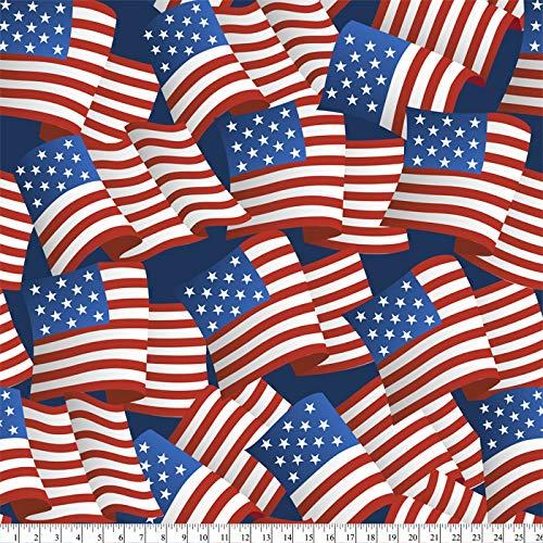 Patriotic American Flags Anti-Pill Premium Fleece Fabric by The Yard