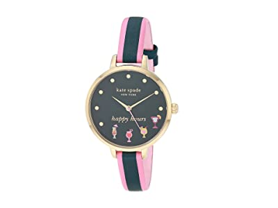Kate Spade New York Metro Three Hand Leather Watch (Pink/Navy) Watches