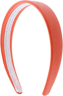 Orange 1 Inch Wide Leather Like Headband Solid Hair band for Women and Girls