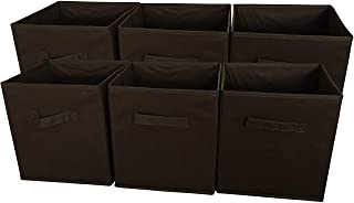 SodyneeFoldable Cloth Storage Cube Basket Bins Organizer Containers Drawers, 6 Pack, Chocolate