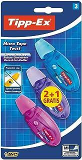 Tipp-Ex Micro Tape Twist Cinta Correctora Blanca 8 m x 5 mm – Colores Surtidos, Blíster de 2+1 Unidades, Con Cabezal Rotat...