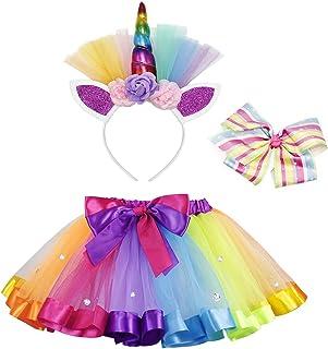 AmzBarley Girls Unicorn Dress Princess Costume Tutu Flower Halloween Cosplay Birthday Party Dress up Clothes&Headband