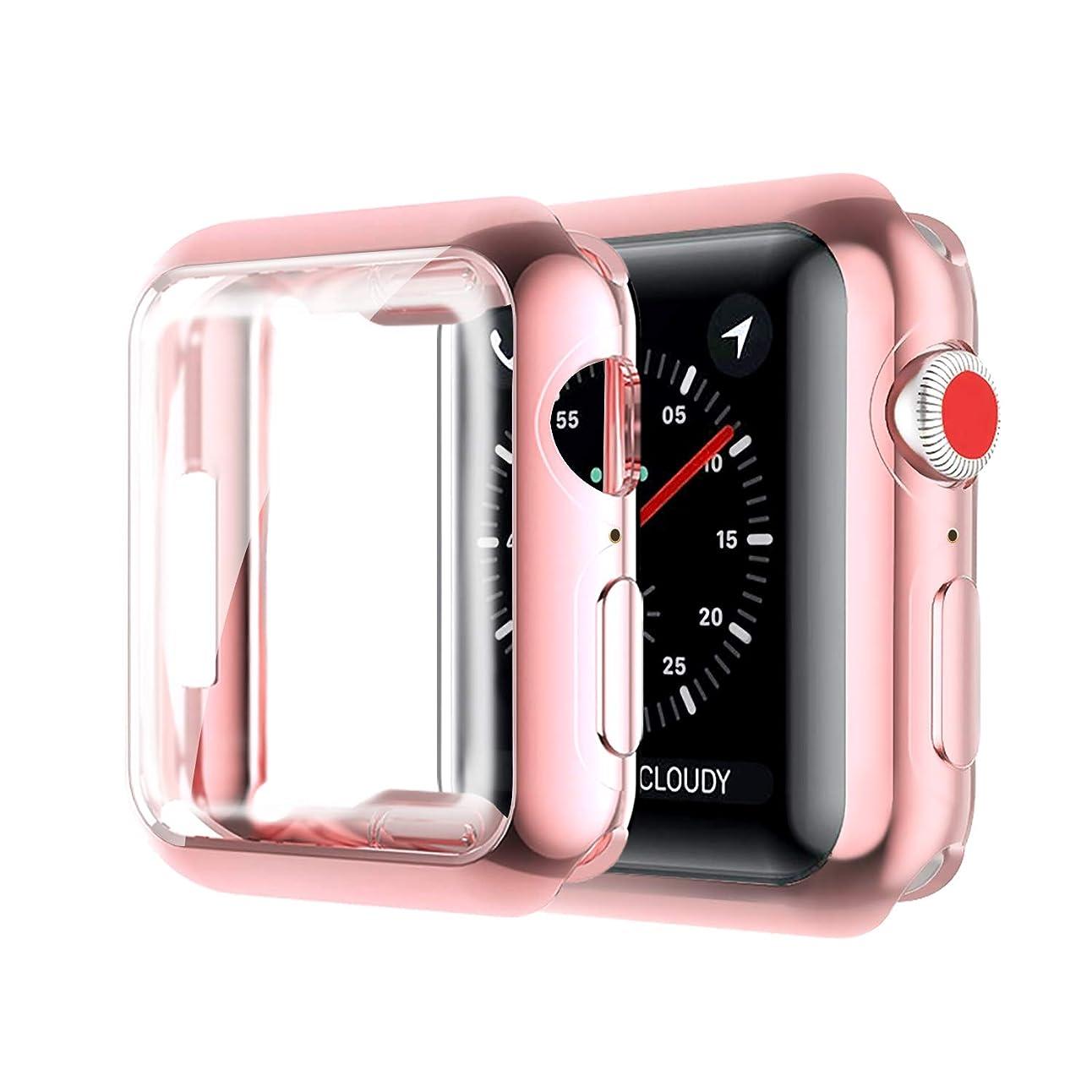 ペア忠誠論争的【2セット】 Newzerol For Apple Watch Series 4 40mm 2018 ケース 新型 全面保護 耐衝撃 柔らかい TPU素材 脱着簡単 Apple Watch 40mm Series 4 保護ケース (ピンク)
