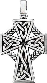 Sterling Silver Boys 1.2mm Box Chain Celtic Braid Christian Cross Pendant Necklace