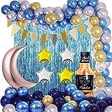 87 Piezas Arco de Guirnalda de Globos Azules Globos de Whisky Azul Claro Dorado Plateado y Estrella Lunar Banderín Banner Flecos Cortina para Baby Shower Boda Fiesta de cumpleaños Decoración