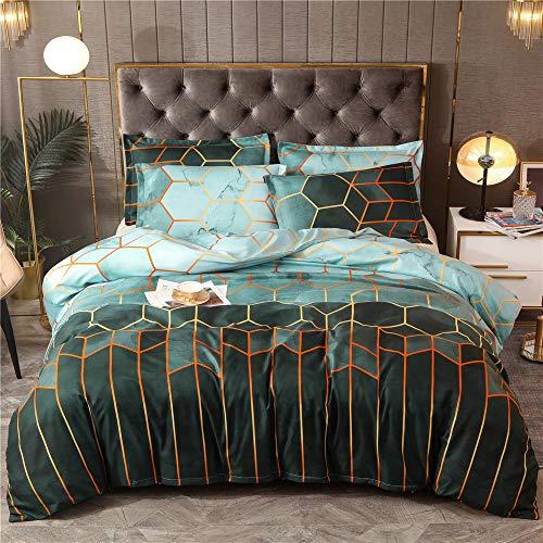 Ouduo Modern Luxus Bettwäsche Set 2/3 Teilig, Mikrofaser Goldene Geometrie Druck Weiche Kuschelige Atmungsaktive Bettbezüge mit Reißverschluss Schließung und Kissenbezug (Grün,200x230cm-3pcs)