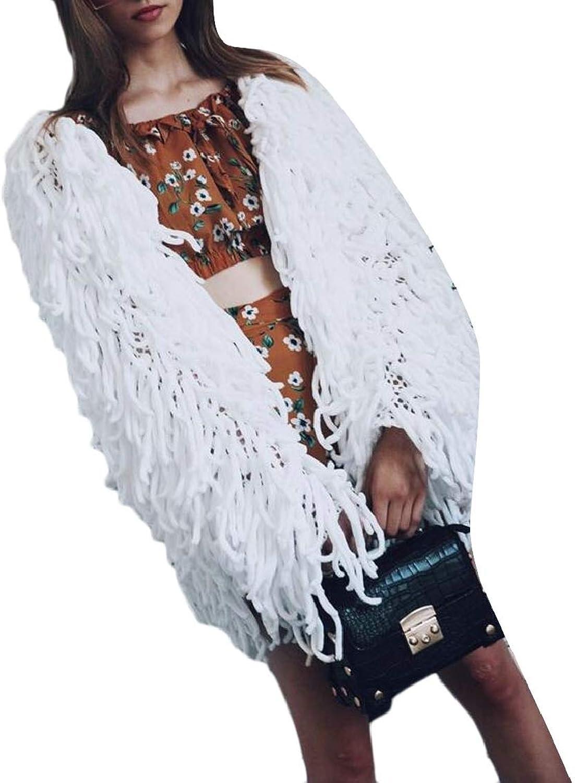 TDCACA Womens Long Sleeve Faux Fur Fluffy Tassel Weaving Jacket Outwear