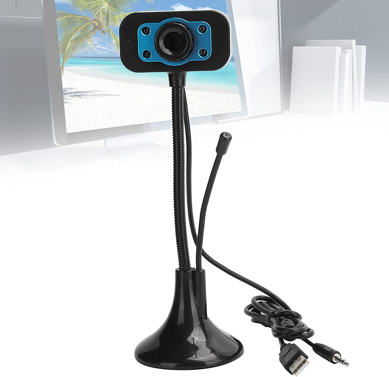Jacksing Webcam Easy-to-use Automatic White Flexibly Limited Special Price Rotate Drive†Balance