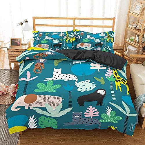 Nordic Modern Luxury Textiles para El Hogar Juego De Ropa De Cama Serie De Animales De Dibujos Animados Funda Nórdica Azul Impresa Funda De Edredón Suave Individual Ropa De Cama DOB