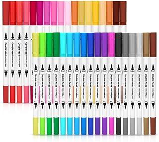 Marcadores Pluma de Acuarela,de acuarela y marcador de pintura colores únicos con bolígrafos de doble pincel, bolígrafos d...