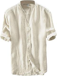5baf814801910 Lin Chemise Homme Été Chemise Col en V Shirt Décontractée Manches Courtes  Slim Fit Blouse Tops