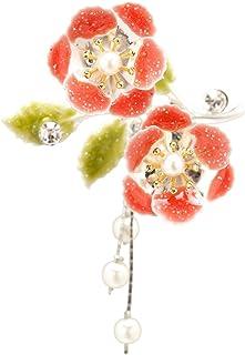 (ソウビエン) 簪 かんざし 赤系 レッド 桜 花 葉 フェイクパール ラインストーン ぶら飾り 髪飾り ヘアアクセサリー 日本製