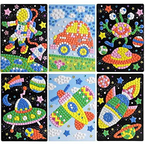 Finduat Mosaic Sticker Art Sticky DIY Handmade Art Kits for Kids - Astronaut, Alien, Car, UFO, Spaceship, Airplane (6 Pack)