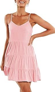 Womens Summer Dresses V Neck Sleeveless Spaghetti Strap Sundress Pleated Loose Swing Casual T Shirt Dress with Pockets