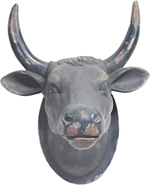 Sagebrook Home 11174 Cow Head Wall Hanging, Black Polyresin, 17.25 x 14.25 x 12.25 Inches