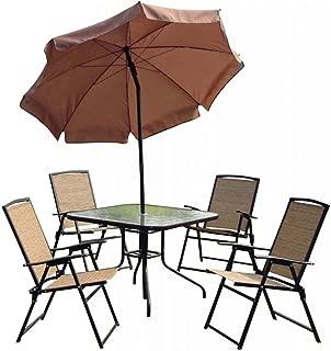 Conjunto Mesa + 4 Cadeiras e Guarda Sol Mor Acapulco 9010, Bege