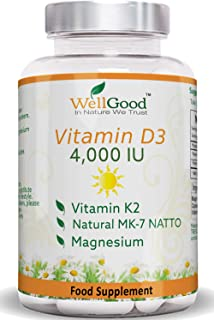 Vitamin K2 Natto MK-7 with 4000IU Vitamin D3 plus Magnesium Bis-glycinate - | Natural Energy | Immune & Bones Support | Quality by WellGood