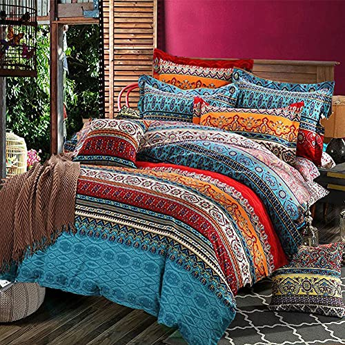 Bohemian Duvet Cover Set (120GSM) Queen Size 90x90 inches, Vibrant Red Orange Boho Chic Floral Striped Bedding Sets, Soft and Comfortable Microfiber Reversible Bedding Duvet Covers with Zipper & Ties