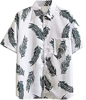 SPE969 Men's Casaul Button Down Shirt, 2 Colors Hawaiian Short Sleeve Print Shirt Vacation Casual Lapel Shirt