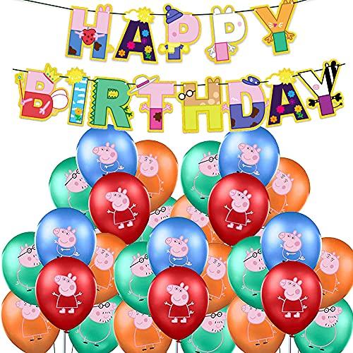 Globos de Peppa Pig Themed Birthday Party Globos para Peppa Pig y George Pig - Globos de fiesta (25 unidades)