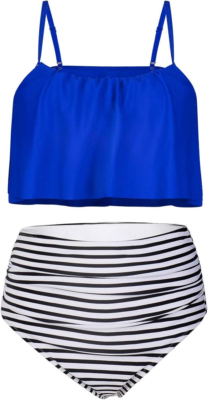 Byoauo Women Two Piece Swimsuits Ruffle Bikini Top with Tummy Control High Waist Bottom Bathing Suits