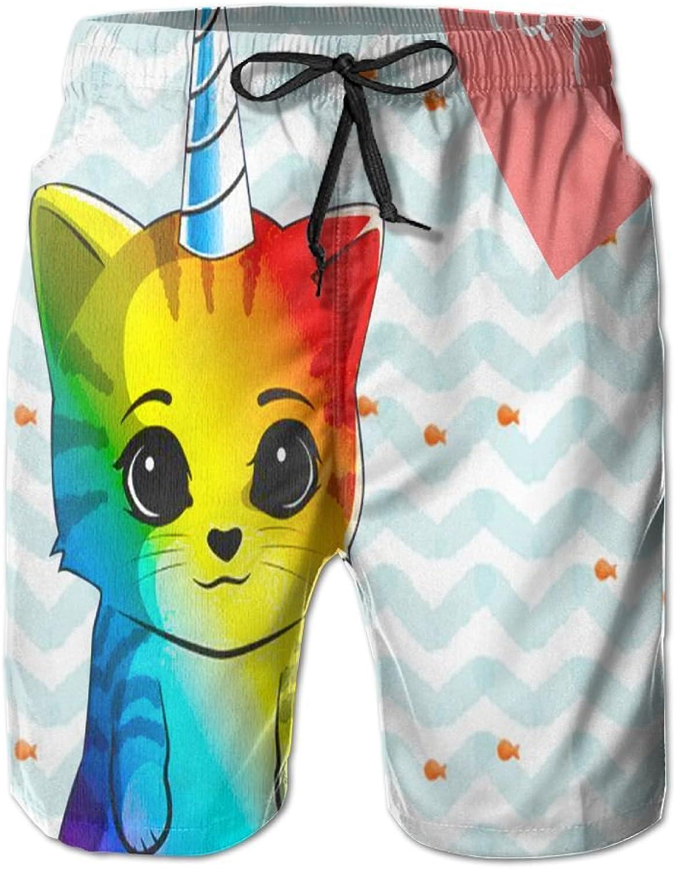 JFX Happy Cat Unicorn Men's Beach Surf Shorts Board Shorts Swimming Trunks