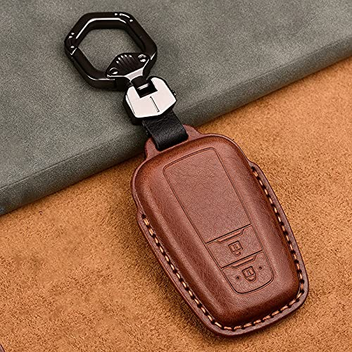 SDLWDQX Funda de Cuero Genuino para Llave de Coche, Apta para Toyota Camry Corolla C-HR CHR Prado RAV4 Prius 2018 2019 2020, 2/3 Botones, Funda Protectora de Control Remoto, 2 Botones de café