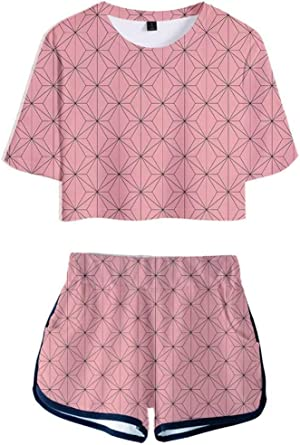 Anime Kimetsu No Yaiba Kamado Outfits for Women 2 Pieces Costume Crop T-Shirts and Short Pants Sets