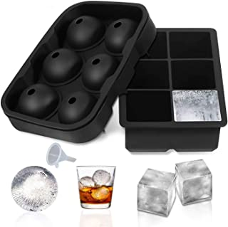 BRITOR Ice Cube Trays Silicone Set of 2, Sphere Ice Ball Maker with Lid and Large Square Ice Cube Molds for Whiskey, Reusa...