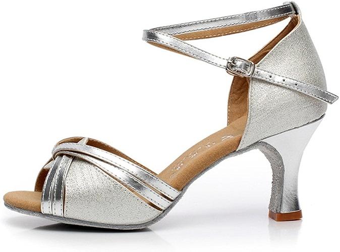 WYMNAME femmes Chaussures de Danse Latine,Talons Moyens Open Toe Fond Mou Chaussures de Danse Moderne Chaussures de Danse de Salon Sandale