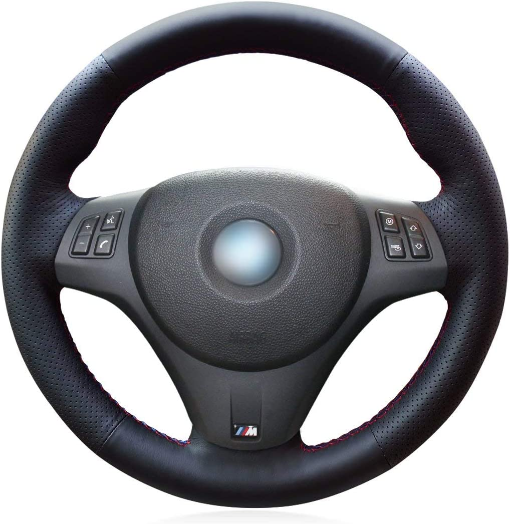 Miami Mall ZHEN JI Black Genuine Leather New products world's highest quality popular Hand for Sew Cover Wheel Steering