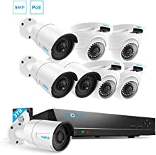 5MP Security Camera System, 16-Channel 5MP NVR with 4 Bullet and 4 Dome Outdoor PoE Cameras, 3TB Hard Drive Pre-Installed for 24/7 Recording, Home Surveillance PoE NVR System, Indoor and Outdoor Use