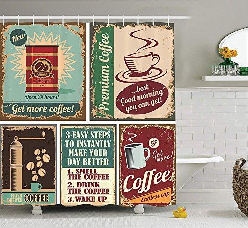 Nyngei 1950er Jahre Dekor Sammlung Kaffee Plakate & Blechschilder Künstlerisches Design Bohnen Tasse Zinn Espressotasse Cappuccino LogoBad Duschvorhang Set mitElfenbein Rot Blau