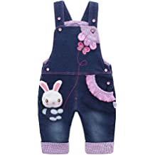 309d58ee98721 Kidscool Baby  amp  Little Girls Rabbit Casual Soft Denim Overalls Jeans