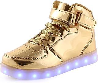e1586bb6 KEVENI Kids Boys Girls High Top USB Charging Led Shoes Light Up Flashing  Shoes Fashion Sneakers