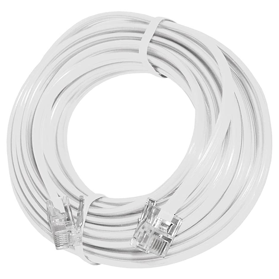 AMZER 15 Feet Telephone Line Extension Cord Heavy Duty 4 Conductor Cable - White