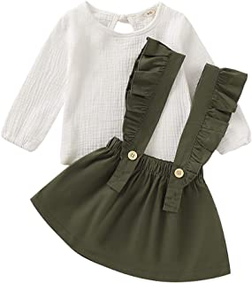 Toddler Infant Baby Girl Clothes Set Short Long Sleeve Ruffle Shoulder White Romper + Floral Button Strap Skirt Dress Cott...