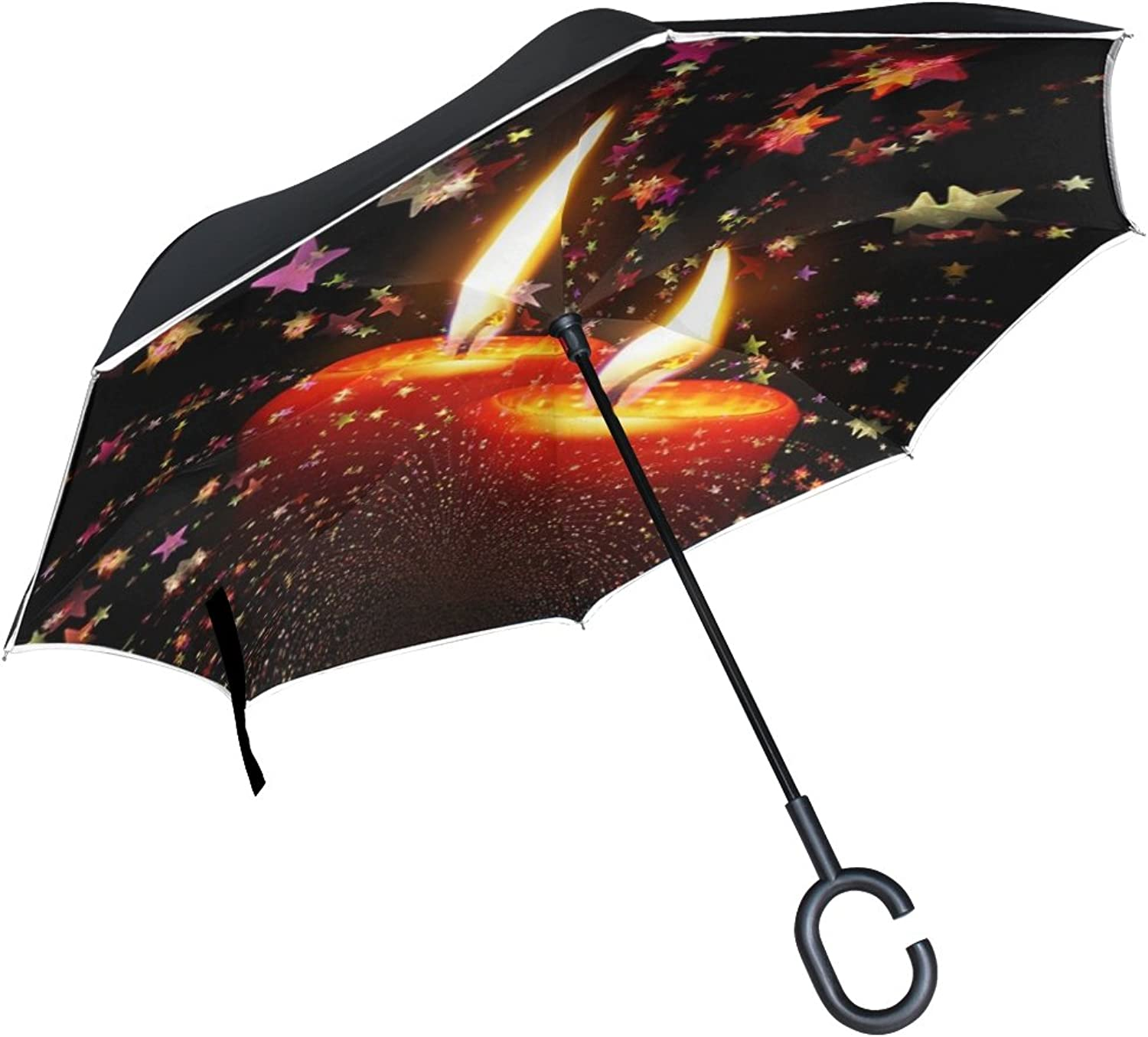 Double Layer Ingreened Candles Christmas Advent Light Burn Advent Wreath Umbrellas Reverse Folding Umbrella Windproof Uv Predection Big Straight Umbrella for Car Rain Outdoor with CShaped Handle