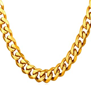 """U7 Men Stainless Steel Chain Black Color/18K Gold Plated Cuban Curb Necklace,Length 18""""-30"""", Width 3mm 6mm 9mm 12mm"""