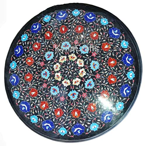 30 x 30 Inches Round Shape Black Marble Table Top with Multi Color Stones Work Inlaid Coffee Table Top for Office Decorative