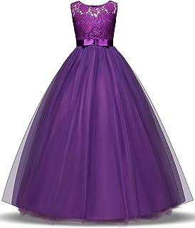NNJXD Girl Lace Sleeveless Flower Party Tutu Princess Tulle Dress