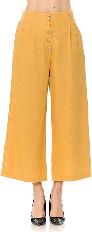 FashionMille Women Casual Relaxed Loose Fit Wide Leg Linen Crop Pants