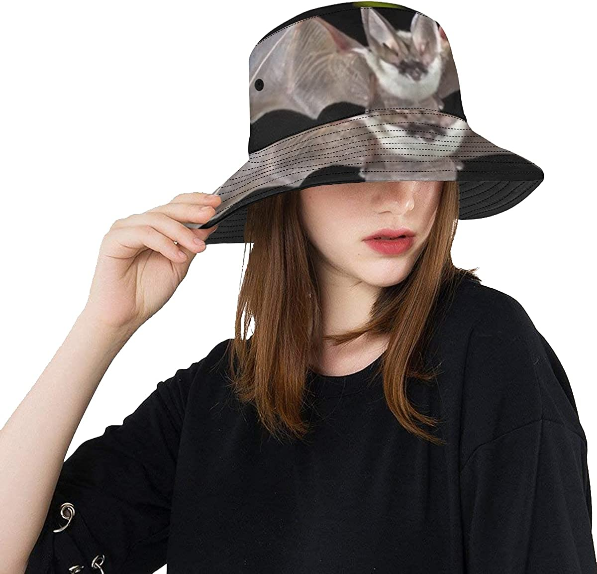 Unique Bucket Hat Flying Bat Casua Grey Forest High quality new Hunting price Longeared