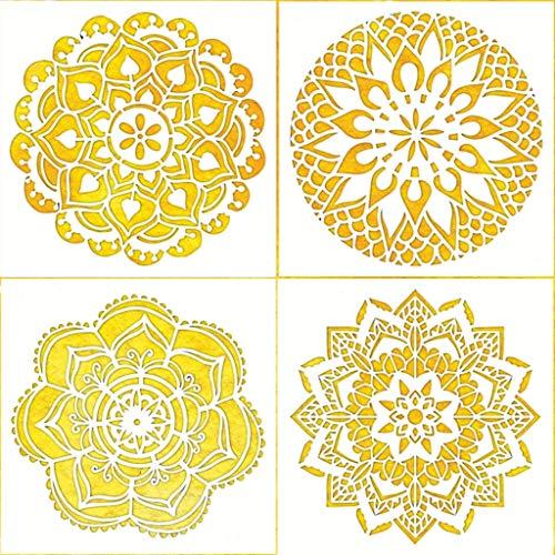 Obuy Mandala-Schablonen-Set (19 x 20 cm) Lasergeschnittene Malschablone Bodenwand Fliesen Stoff Holz Schablonen – wiederverwendbare Schablonen (4 Stück)