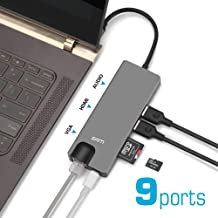 SAM 9 in 1 USB-C Hub,Aluminum Type C with 4K HDMI Port,VGA Port,Gigabit Ethernet Port,Audio Mic,USB 3.0 Ports,USBC Power Delivery,SD/TF CardReader,Compatible with MacBook Pro,Dell,Chromebook,Android
