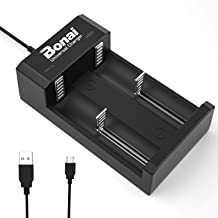 Bonai Smart Rechargeable Battery Charger for Ni-MH Ni-Cd AA AAA C D Batteries,Li-ion 18650 18500 18350 17650 17670 17500 16340 22650 25500 22700 Batteries (2 Slots USB Charger)