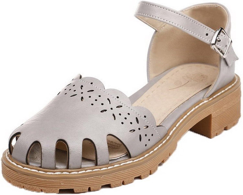 AmoonyFashion Women's Solid PU Low-Heels Buckle Open-Toe Sandals, BUTLT006242
