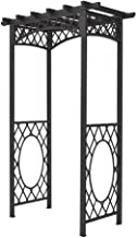 Bosmere English Garden 56 in. x 88 in. Gunmetal Grey Steel Arbor