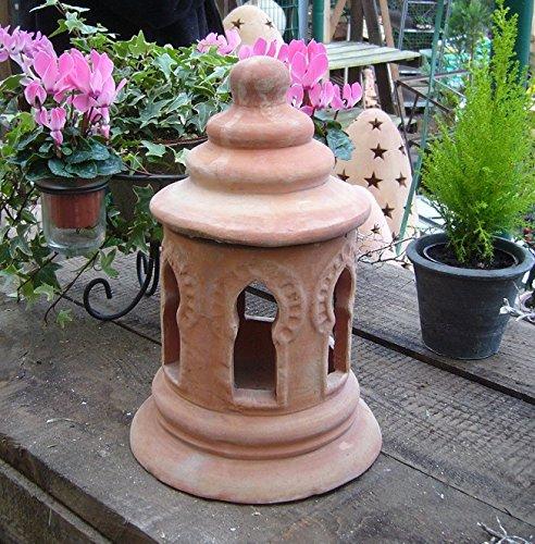 Pagoda redondas 30 cm Real Terracota Terracota Jardín Decoración Antorcha de jardín Pyramide portavelas Buda piedra Farol: Amazon.es: Jardín