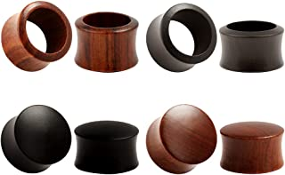 KUBOOZ (conjunto de 4 pares) Tapones para los oídos de ébano de madera de sándalo de la naturaleza Medidores de ensanchami...